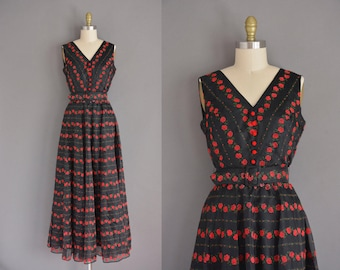 vintage 1960s dress / 60s red rose full length vintage dress / flocked red print dress