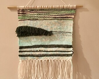 weaving wall hanging ivory and green color wall art one of a kind original