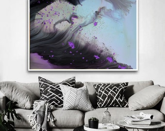 Baby blue purple modern art print, abstract print from original Painting, blue Modern Painting, Abstract Painting, gray purple, vibrant art