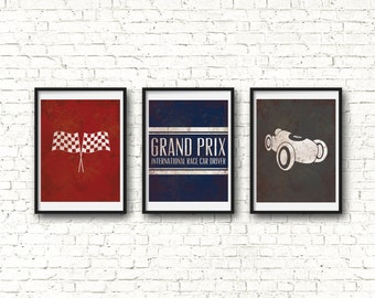 Race Car Print - Vintage Racing Nursery Printable Art - Digital Download for Race Car Nursery