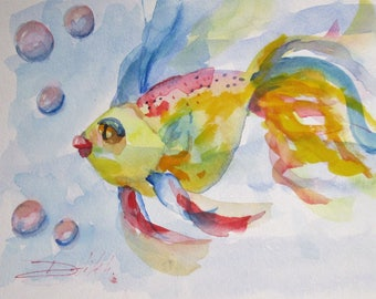 Gold Fish with Bubbles original watercolor painting Art by Delilah