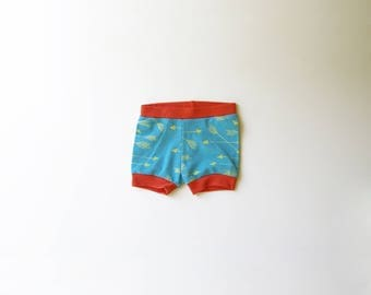 Arrows | Organic Baby Shorties | Turquoise | Screen Printed Baby Clothing | Baby Pants | Baby Clothes | Unisex | Diaper Cover