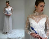 Reserved....   Tulle Lace Wedding Gown  //  70s Wedding Dress  //  THE MAJESTIC