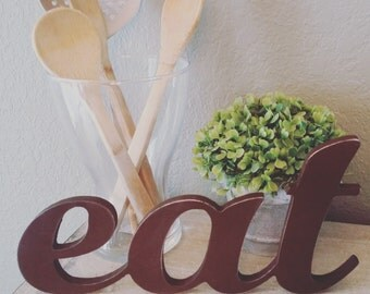 Eat Sign,  Kitchen Decor, Connected Letters, Antiqued Dark Brown, Bistro, Word Art, Wood Letter, Wooden Wall Sign, Dining Room