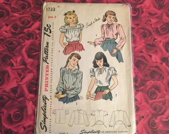 50's Vintage Sewing Pattern Girls Blouse