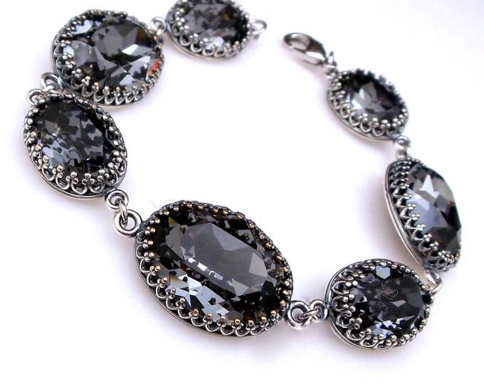 bridesmaid jewelry bracelet bridal wedding christmas party gift swarovski rhinestone oval antique silver night gray cubic zirconia bracelet