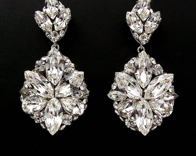 Glam vintage style bridal wedding earrings Swarovski clear fancy marquise multi shape cluster clear crystal rhinestone silver post earrings