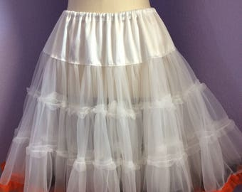 White petticoat with orange and brown trim soft chiffon petticoat 2 layers