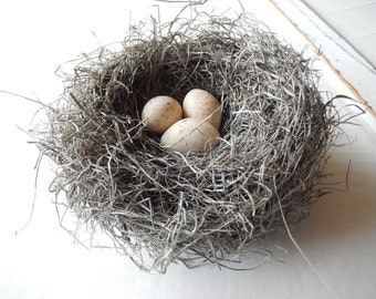 Bird Nest Rustic Handmade Bird Nest with Handmade Speckled Aged Ivory Eggs by PerchAndPatina on Etsy