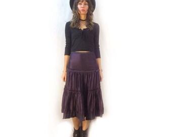 Vintage 90s tiered panel ruffle silk skirt // size 2 xs small // indian ethnic flamenco beach summer boho goth grunge gypsy festival