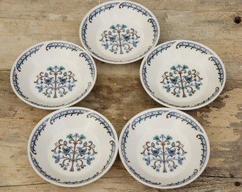 Vintage 60s-70s Small Bird Print Butter Plates Bowls Blue Heritage Retro Boho Mid Century Woodland