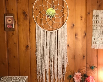 Very Large White Mirror Fringed Dreamcatcher