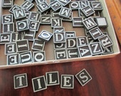 1940s 1950s vintage Anagrams tiles - game, black, wood, letters, 94 tiles, alphabet, words, assemblage