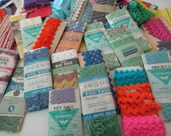 DESTASH - whole lot of cards of rick rack- vintage cards and new packages, polyester, cotton