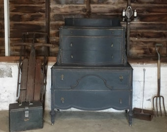 """Vintage Hand Painted Industrial  """"Dark and Stormy"""" Highboy Dresser Shipping NOT included"""