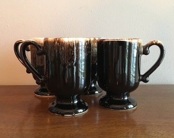 pfaltzgraff brown drip irish coffee pedestal mugs set of 4