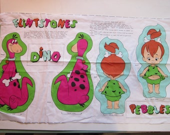 vintage fabric doll panel - PEBBLES and DINO, Flintstones characters - PARTIAL panel, as is