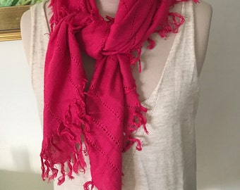 Hot Pink Cotton Scarf With Fringe. 100% Cotton Holiday Accessories Head Wrap Boho Gifts Under 30 Bohemian Summer