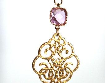 Gold Filigree Earrings, Pine Gemstone Earrings, Pink Stone Earrings, Gold Chandelier Earrings, Wedding, Bridal