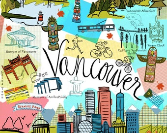 Vancouver  British Columbia Travel Map wall art wall Print icons home decor by Farida Zaman