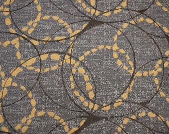 REMNANT Grey Gold Contemporary Optical Dots Robert Allen Fabric 55 inches x 1.875 yards
