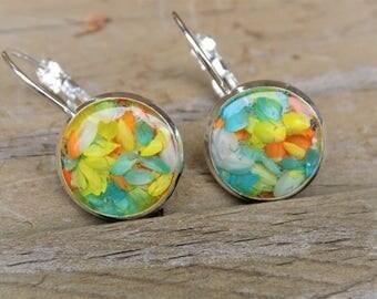 Silver Dangle earrings - Real flower petals, silver jewelry, boho, bohemian, women drop earring, lever back earring