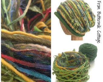 Green Knit Slouchy Hat Kit Boutique Yarn Pattern Knit Cap Kit Art Yarn Knit Kit DIY Knit Kit FUSION Yarn Hat Kit Green Knit Hat Kit