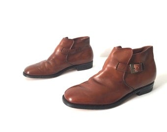 CHELSEA boots mens size 9 10 BEATLE brown leather 60s 70s ANKLE boots