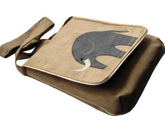 Elephant Themed Crossbody Bag, Bag with Flap, OOAK Messenger Bag, Eco Suede Vegan, Flap Cover Bag, Adjustable Strap, Bag For Cyclist, Bike