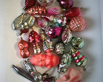 Vintage Christmas Decorations Glass Baubles Ornaments set of 20 Set 3 1970s from Russia Soviet Union USSR