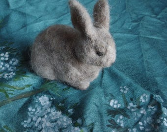 Needle felted grey rabbit - miniature wool sculpture
