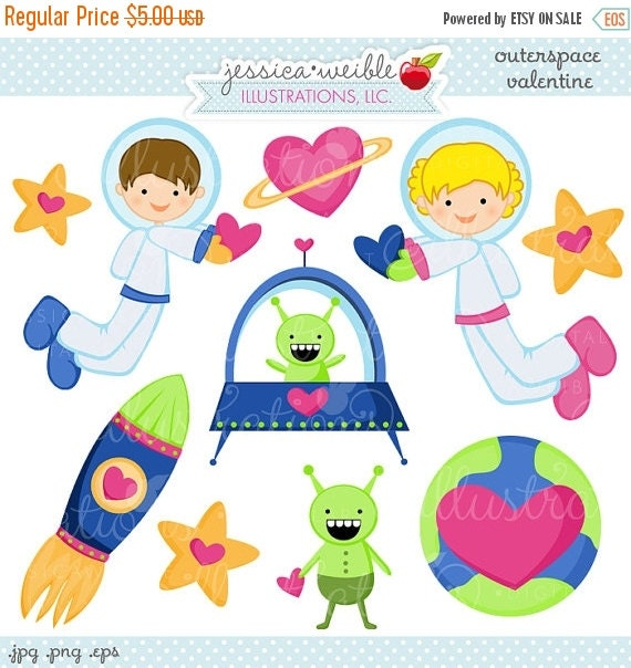ON SALE Outerspace Valentine Cute Valentine Clipart - Commercial Use OK - Valentine Graphics, Valentine Clipart, Outerspace Valentine