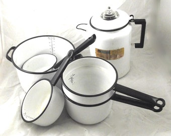 Agateware or Enamelware Set in White and Black, 6 Vintage Pieces (G4)