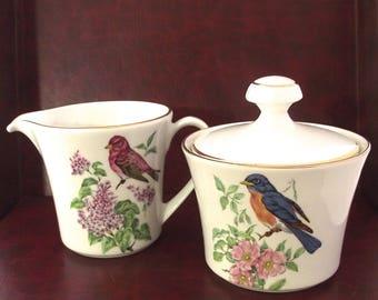 Creamer and Sugar Bowl Pontesa Songbirds Tea Set, Vintage Serving Pair with Birds Illustrations (F3)