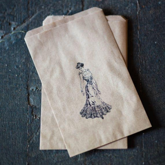 Wedding Favor Kraft Bags - Merchandise - Gift - Food -  Vintage Lady design