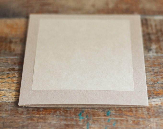 Kraft Stickers for CD sleeves- 4in x 4 in- Set of 12 blank or with custom printing