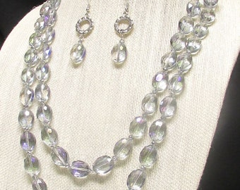 "24""-27"" Purple AB Oval Crystal Double Strand Necklace Set #20072"