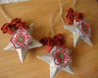 Christmas ornaments paper mache stars glitter ornaments vintage style poinsettias vintage Christmas card scraps home decor Cottage Chic