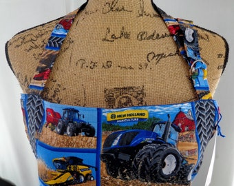 Full Apron, Farm, New Holland Tractor, BBQ, Unisex, Groom Gift