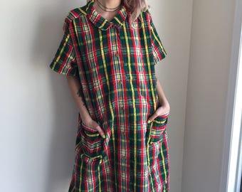 vintage plus size dress plaid check seersucker house dress house wife boho casual plus figure resort summer