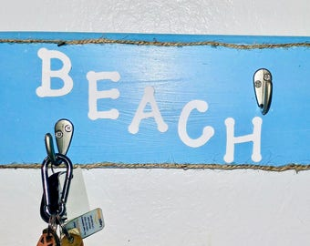 Shabby Chic Blue BEACH Wall Organizer Hooks For Jewelry Keys Hats and More