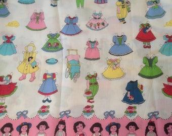 Paperdolls Paper Dolls Cotton Quilting Fabric Dresses Girls Pink