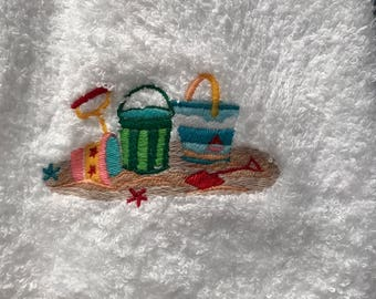 Beach Pails embroidered hand towel