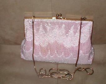 Vintage light pink Beaded Evening Bag Purse