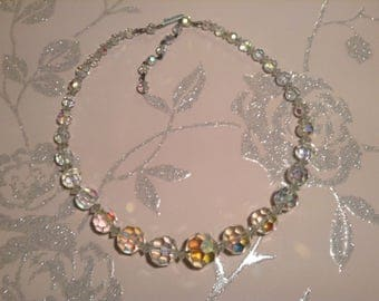 Vintage Crystal Faceted Bead Necklace 1950s Sparkly AB