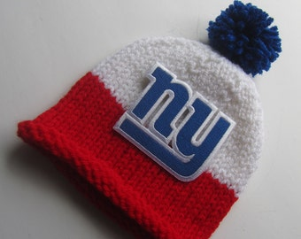 NEW YORK GIANTS Hand Knit Baby Hat - Football Baby Hat - Hand Knitted Baby Hat - New York Baby Hat