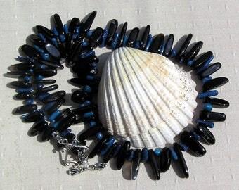 "Blue Coral & Black Onyx Crystal Gemstone Statement Necklace ""Blueberry Punch"" Black Necklace, Blue Necklace, Chakra Necklace, Coral Necklace"