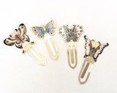 Cloisonné butterfly bookmarks set of four vintage enamel over brass beautiful