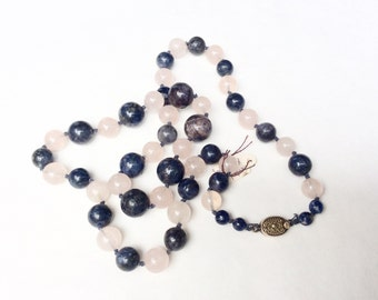 Sodalite and rose quartz necklace vintage hand knotted with silver clasp superb quality