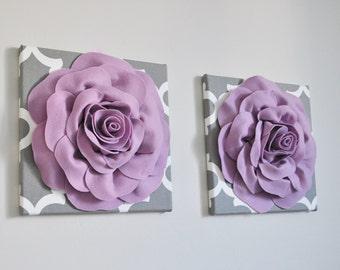 Lilac Purple Wall Decor Girls Room, 12 x 12 Bedroom Rose Wall Art, Nature Artwork Home Decor, Light Lavender Nursery on Gray Moroccan Print